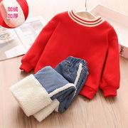 赤ちゃん セット 冬服 新しいデザイン 女児 キッズ洋服 児童 厚さプラス セーター ロ