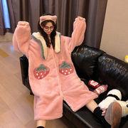 スウィート かわいい ナイトドレス 寝る 洋服 女 秋冬 新しいデザイン 韓国風 ネット