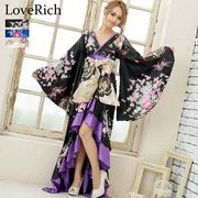 0680サテン和柄フリルロング着物ドレス 衣装 ダンス よさこい 花魁 コスプレ キャバドレス