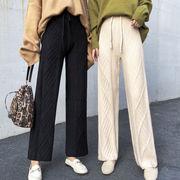韓国風 風 小 ファッション シンプル 紐 ツイスト 穀粒 ニットパンツ 何でも似合う