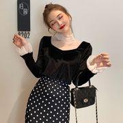 韓国風 風 セクシー 透かし ネット + ヒープ 襟 長袖Tシャツ 女 秋と冬 新しいデ