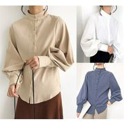 秋も使える♪♪💖限定SALE💖全3色 長袖シャツ ボリューム袖 体型カバー 無地 シンプル