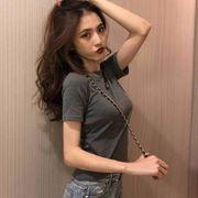 2020新作 トップス 純色 Tシャツ 韓国ファッション レディース