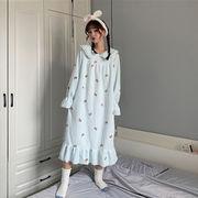 秋冬 新しいデザイン スウィート かわいい 人形の襟 王女 風 フランネル ナイトドレス