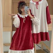 秋 韓国風 新しいデザイン ファッション 何でも似合う ナイトドレス 女 手厚い 暖かい