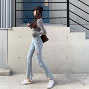 女性のジーンズ 新しいデザイン ファッション アンティーク調 気質 穴あき ストレートジ