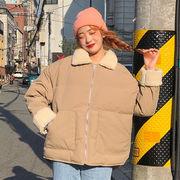 秋冬 新しいデザイン 韓国風 ルース 着やせ 子羊ウール ラペル トップス 何でも似合う
