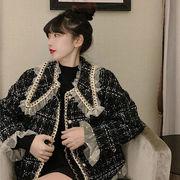 秋冬 新しいデザイン レディース風 気質 編み メッシュ + 人形の襟 ヒットカラー グ