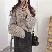 2019 秋冬 新品 韓国 タートルネック ニット 怠惰な風 ゆったりする 厚手 保温する セーター