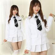【即日出荷】白色 長袖 学生制服 セーラー服 アイドル風 コスプレ衣装【7823/4】
