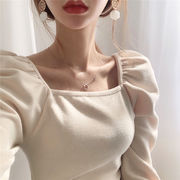 2色 韓国ファッション レディーズ おしゃれな 長袖 ニット スクエアネック  レトロ トップス