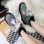 スノーブーツ 女靴 秋と冬 新しいデザイン 何でも似合う かわいいクマ 明るいレザー 厚