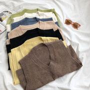 秋冬 新しいデザイン 韓国風 極端な ジェーン 風 純 カラー 何でも似合う 着やせ 襟