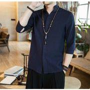 メンズ リネン シャツ  七分袖 スタンドカラー カジュアル 気質 シャツネイビー