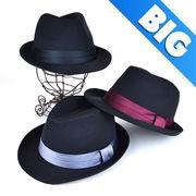 BIGSIZEサテンリボンブラック中折 ヤング帽子
