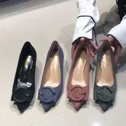 ハイヒール 女 細いヒール 春秋 新しいデザイン 韓国風 黒色尖頭 浅い口 靴 フェアリ