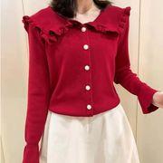 【大きいサイズXL-4XL】ファッション/人気セーター♪アカ/ブラック2色展開◆