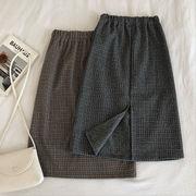 冬 新しいデザイン 韓国風 アンティーク調 ゴム入りのウエスト 羊毛の チェック柄スカー
