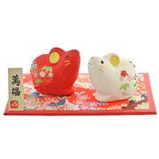 (干支子) 和紙貼招福紅白飾り 干支 子 福招 和紙 置物