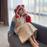秋冬 新しいデザイン 韓国風 ルース レジャー 帽子付き トラックスーツ ナイトドレス