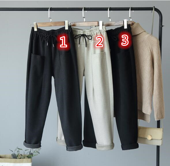 レディースボトムス 3色 ハレムパンツロング丈ズボン カジュアルパンツ フード付 ウール 韓国スタイル