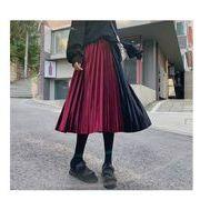 ベロアプリーツスカート配色プリーツ ウエストゴム ロングスカートファッション レディースワイン