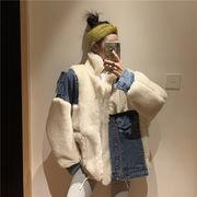 人気ファッション デニム切替 暖かい アウター ジャケット レディース 冬 通勤通学