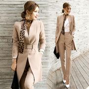 2色 2点セット 韓国ファッション レディーズ カジュアル スーツ パンツ スリム 長袖 無地 シンプル