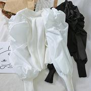 2色韓国ファッション シャツ スリム 着痩せ シャーリング 切り替え ボリューム袖 セーター ニット