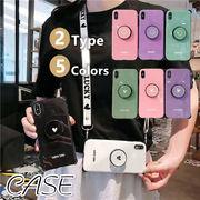 iPhone11 11pro 11proMax●スタンド付TPUケースしなやか安心 ストラップ  可愛い ハート/スマイル