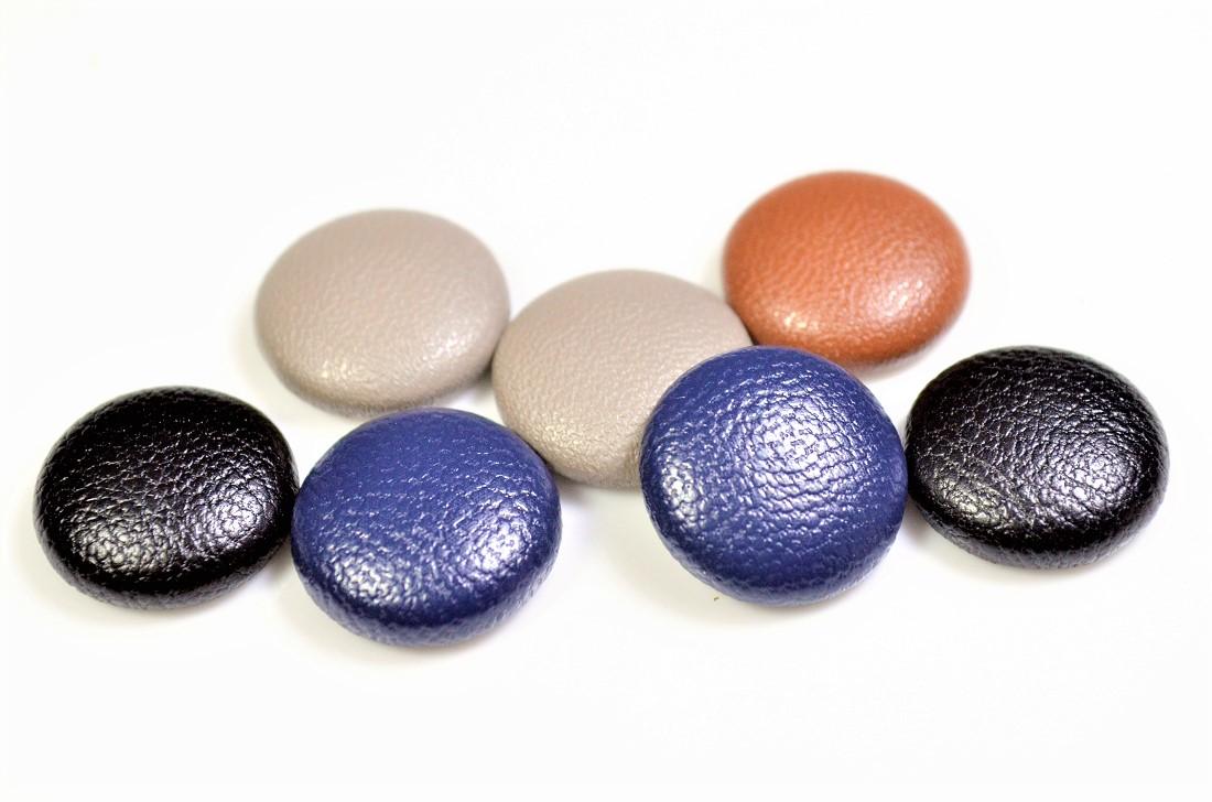 【秋冬アクセサリー】合成皮革ラウンドパーツ/エコレザー ミニサイズくるみボタン 半円ボタンパーツ