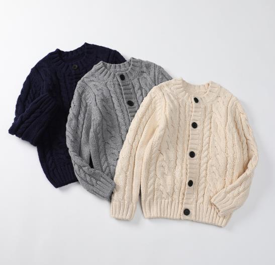 【デザイン更新】 子供用 トップス セーター ニットトップス アウター カーディガン 3色 カジュアル