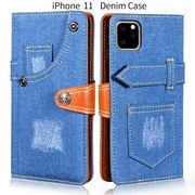 スマホケース iphoneケース 手帳型 iPhone11 ケース 手帳型ケース アイフォン11 スマホカバー デニム