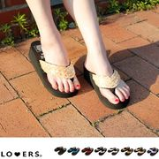 トングサンダル ビーチサンダル スパンコールサンダル【即納】厚底 ウェッジソール 靴 黒 白