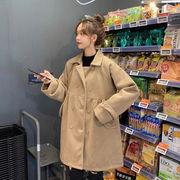 冬 新しいデザイン 韓国風 ルース 何でも似合う 着やせ ウールコート 手厚い 中長スタ