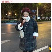 冬 新しいデザイン 韓国風 ルース + 模倣します 子羊ウール チェック柄ウールコート