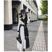 女性のトレンチコートスタイリッシュなファッションパッチワークベルト