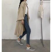 韓国ファッションラペルトレンチコート/カジュアルベルトルースオーバーコート