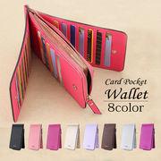 長財布 三つ折 男女兼用 8色 PUレザー カード26枚収納 freesize