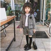 スーツ アウター+ズボン上下2点セット チェック 韓国子供服 キッズ 新作 セールファッションm14499