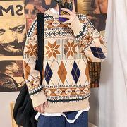 トップス ニット セーター クルーネック 厚手 ゆったり 韓国系ファッション メンズ 秋冬