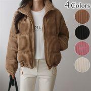 コーデュロイ 中綿ショートジャケット長袖 防寒アウター かわいい 暖か ピンク リブ スタンドカラー