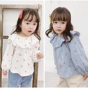 春秋 子供服 長袖Tシャツ 可愛い  韓国ファッション トップス  キッズ さくらんぼ