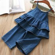 デニム ベスト デニムパンツ セットアップ 上下2点 ズボン 大きいサイズ 女の子 韓国子供服 2020新作 SALE