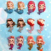 10個 樹脂パーツ 人魚姫 キラキラ 選べる6タイプ カポション ピアス 髪飾り デコ電 封入 デコパーツ