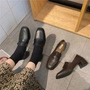 靴 女靴 春 新しいデザイン スクエアヘッド 粗製 小さな靴 女性英国スタイル アンティ
