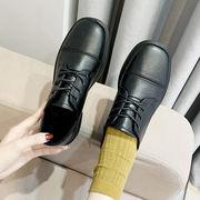 小さな靴 女 イングランド 春 新しいデザイン アンティーク調 ひもあり 太いヒール ロ