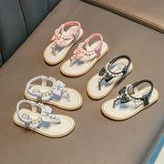 女児 プリンセスの靴 サンダル パール フォルダ 脚 夏 新しいデザイン ファッション