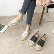 靴 女靴 春 新しいデザイン 編み 麻(あさ) ストラップ ?? 靴 何でも似合う フラ