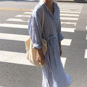 大人気商品 韓国 新作 ゆったりする スリム ストライプ リネン 長袖 百掛け 気質 ロングスカート